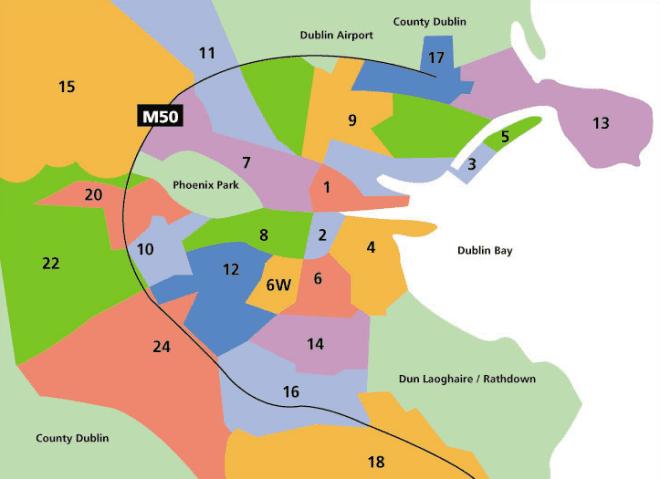 Mapa das regiões de Dublin