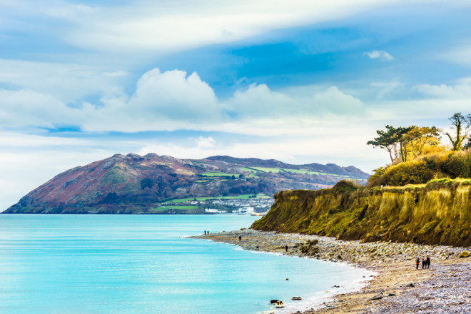 View on coast and beach of the Irish sea by Bray near Dublin