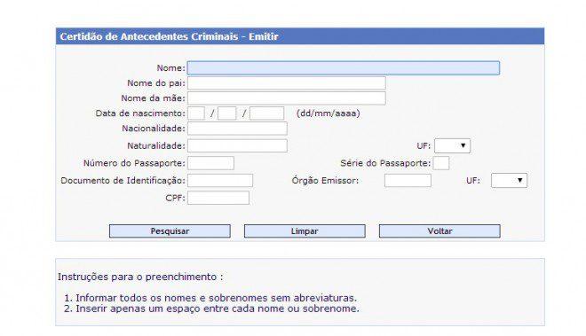 Site da Polícia Federal fornece desde 2008 o documento online. Reprodução: dpf.gov.br