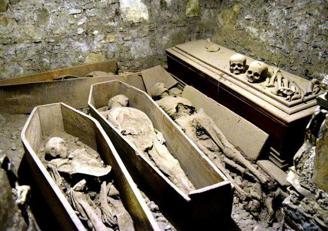 Múmias na cripta da igreja St. Michan. Reprodução: Dublin.ie