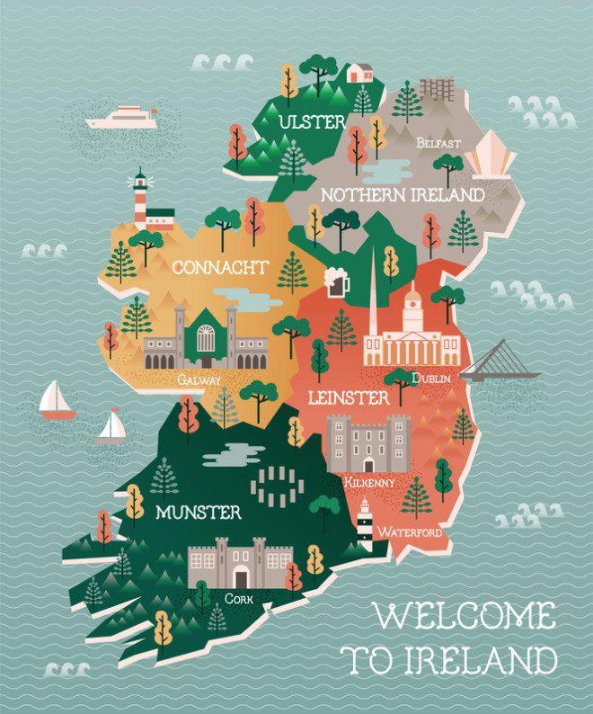 A Irlanda e suas 4 regiões. © Alexandragl | Dreamstime.com