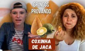 Gringos provando Coxinha de Jaca