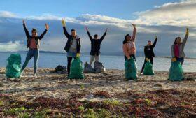 Voluntários brasileiros atuam na limpeza de praia na Irlanda